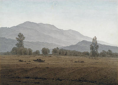 Painting -  New Moon Above The Riesengebirge Mountains by Caspar David Friedrich