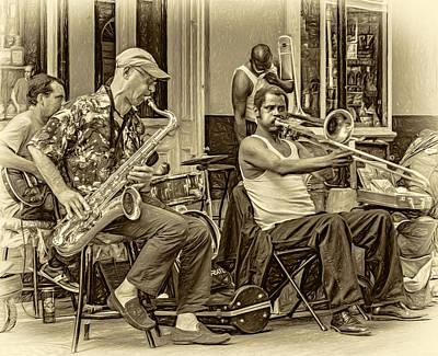 Street Musicians Digital Art - New Orleans Jazz - Sepia by Steve Harrington