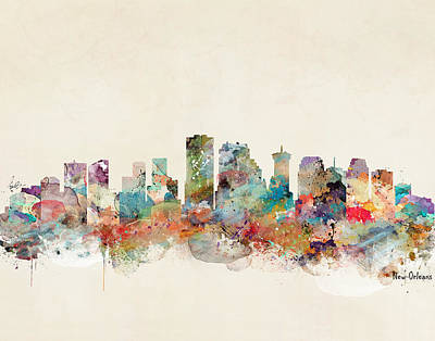 Painting - New Orleans Louisiana Skyline  by Bleu Bri