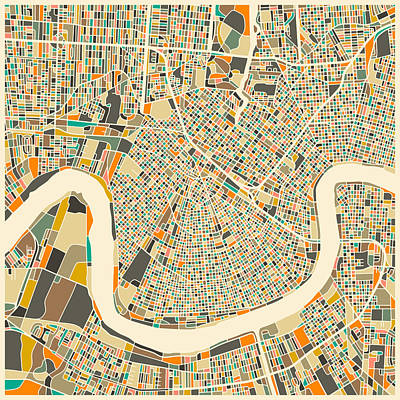 Abstract Digital Art - New Orleans Map by Jazzberry Blue