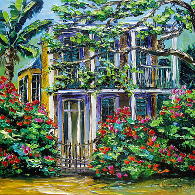 New Orleans Painting Behind The Gate B. Sasik Art Print by Beata Sasik