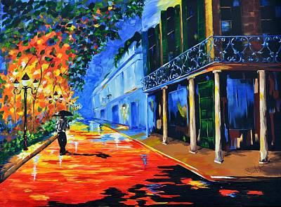 Lamplight Painting - New Orleans Street by Barbara Sudik