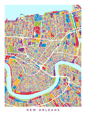 Mardi Gras Digital Art - New Orleans Street Map by Michael Tompsett