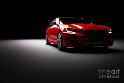 New Red Metallic Sedan Car In Spotlight. Modern Desing, Brandless. Art Print