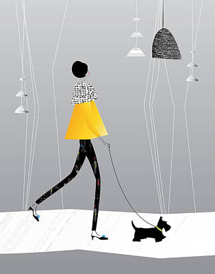 Scottish Dog Digital Art - Walking The Scottie by Dawn Connor