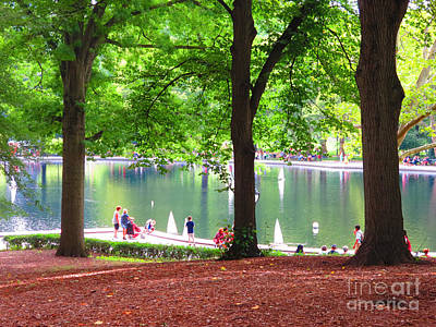 Painting - New York Central Park Trees Shades Green Walkways Quite Magical Spaces Around Chaos Fineartamerica by Navin Joshi