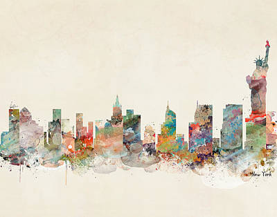 Painting - New York City New York Skyline  by Bleu Bri