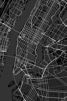 New York Digital Art - New York City New York Usa Dark Map by Jurq Studio