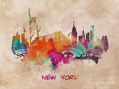 New York Skyline Digital Art - New York City Skyline Colored by Justyna JBJart