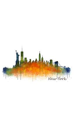 Manhattan Painting - New York City Skyline Hq V02 by HQ Photo