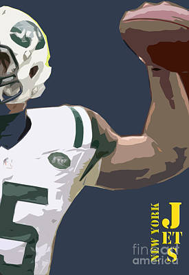 Jet Digital Art - New York Jets Football Team And Original Typography by Pablo Franchi