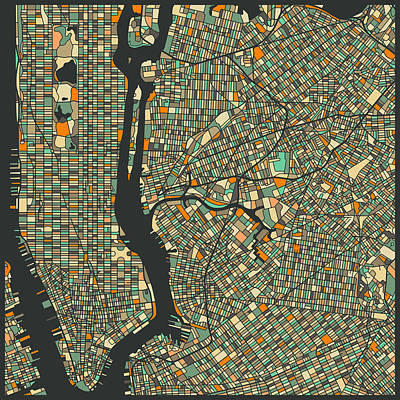 New York Digital Art - New York Map by Jazzberry Blue