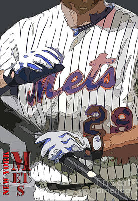 New York Mets Baseball Team And New Typography Art Print by Pablo Franchi