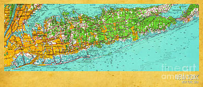 Renovation Digital Art - New York Old Map 1954 by Pablo Franchi