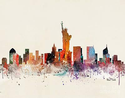 New York City Skyline Painting - New York Skyline by Bleu Bri