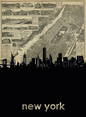 Skylines Royalty-Free and Rights-Managed Images - New York Skyline Map 4 by Bekim Art