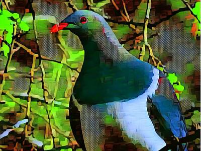 Mixed Media - New Zealand Wood Pigeon by Nancy Pauling