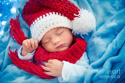 Photograph - Newborn Baby Sleeping On Christmas Eve by Anna Om