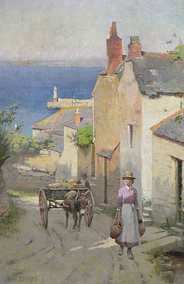 The Market Cart Painting - Newlyn From The Bottom Of Adit Lane by Leghe Suthers