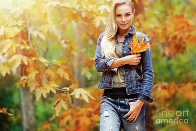 Photograph - Nice Female In Autumn Park by Anna Om