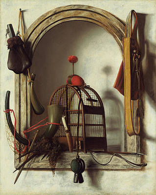 Painting - Niche With Falconry Gear by Christoffel Pierson