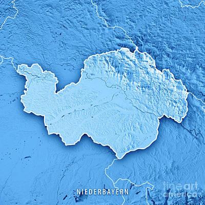 Digital Art - Niederbayern Regierungsbezirk Bayern 3d Render Topographic Map B by Frank Ramspott
