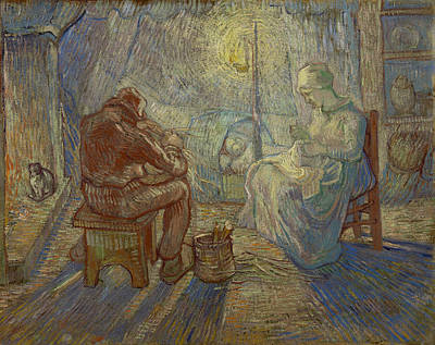 Nocturnal Animals Painting - Night, After Millet by Vincent van Gogh