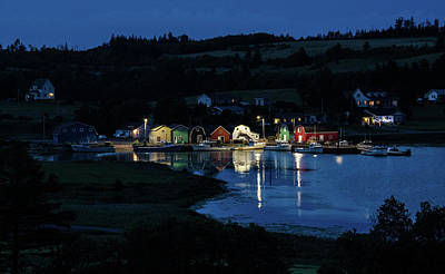 Art Print featuring the photograph Night At French River Harbour, Pei by Rob Huntley