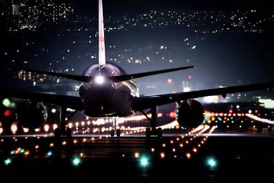 Passenger Plane Photograph - Night Flight by Mountain Dreams