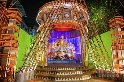 Durga Puja Photograph - Night Image Of Durga Puja Pandal Kolkata West Bengal India by Rudra Narayan Mitra