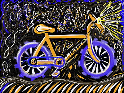 Cycles Painting - Night Ride II by Colleen Proppe