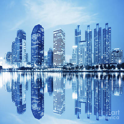 Water Reflections Photograph - Night Scenes Of City by Setsiri Silapasuwanchai
