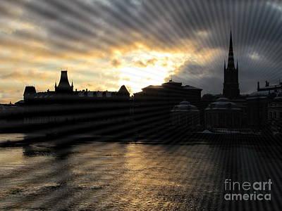 Pyrography - night Stokholm  Swiss by Yury Bashkin