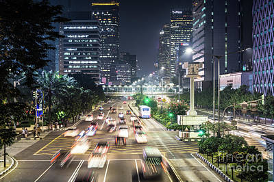 Photograph - Night Traffic Rush In Jakarta by Didier Marti