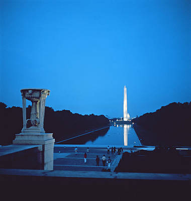 Erect Photograph - Night View Of The Washington Monument Across The National Mall by American School