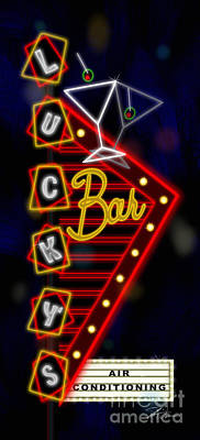 Neon Mixed Media - Nightclub Sign Luckys Bar by Shari Warren