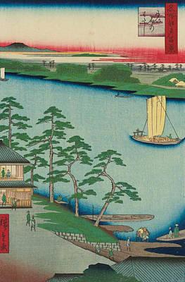 Oriental Painting - Niijuku Ferry by Utagawa Hiroshige