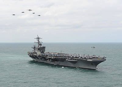 Marine Corps Painting - Nimitz-class Aircraft Carrier Uss Theodore Roosevelt by Celestial Images