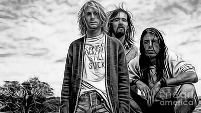 Kurt Cobain Mixed Media - Nirvana Collection by Marvin Blaine