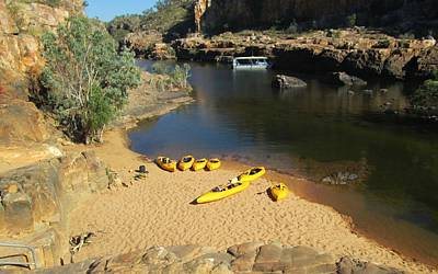 Photograph - Nitmiluk Gorge Kayaks by Tony Mathews