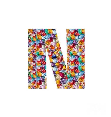Painting - Nnn Nn N  Alpha Art On Shirts Alphabets Initials   Shirts Jersey T-shirts V-neck By Navinjoshi by Navin Joshi