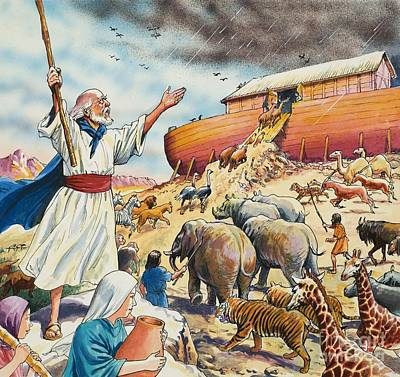 Biblical Scene  Noahs Ark Art Print by English School