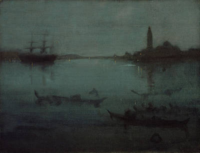 Whistler Painting - Nocturne In Blue And Silver - The Lagoon, Venice by James Abbott McNeill Whistler