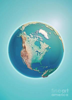 North America 3d Render Planet Earth Art Print by Frank Ramspott