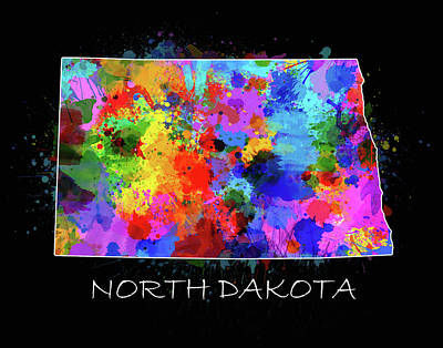 North Dakota Wall Art - Digital Art - North Dakota Color Splatter by Bekim Art