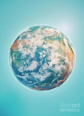 Russia Digital Art - North Pole 3d Render Planet Earth Clouds by Frank Ramspott