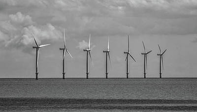North Sea Wind Farm Art Print by Martin Newman