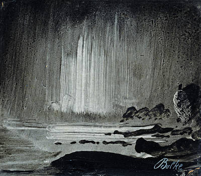 Norwegian Painting - Northern Lights Over Coastal Landscape by Peder Balke