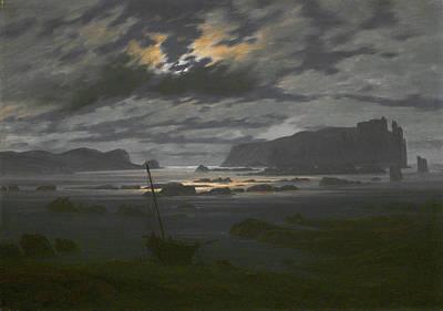 David Painting - Northern Sea In The Moonlight by Caspar David Friedrich
