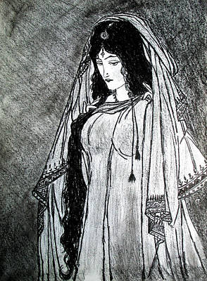 Drawing - Nostalgia - Woman Of Chughtai  by Fareeha Khawaja